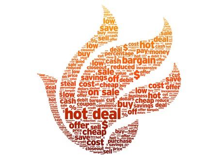Hot deal woord illustratie op witte achtergrond.