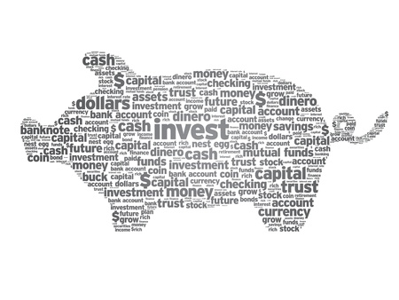 bankkonto: Piggy Bank Darstellung mit Worten auf wei�em Hintergrund.
