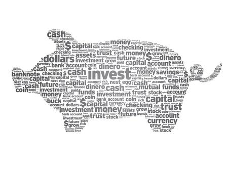 pensioen: Piggy Bank illustratie met woorden op een witte achtergrond. Stock Illustratie