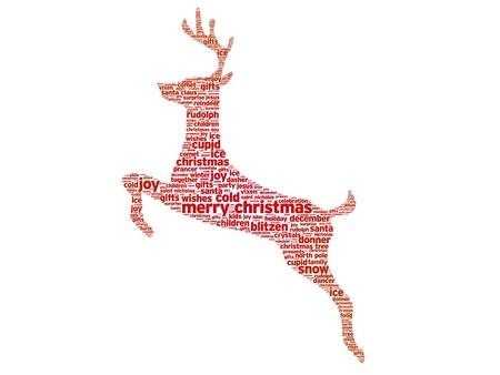 Reindeer christmas word illustration on white background.