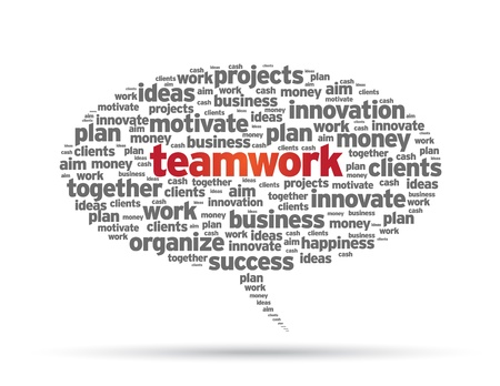 Speech bubble with the word teamwork on white background. Çizim