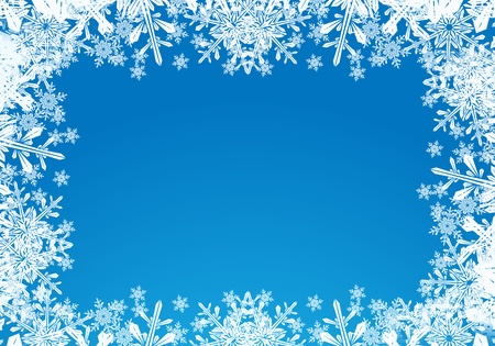 christmas backdrop: Blue christmas card background with snow flakes.