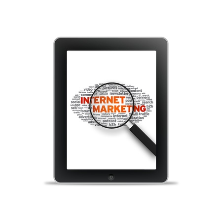 Tablet PC with Internet Marketing words on white background.  Stock Photo - 10849572