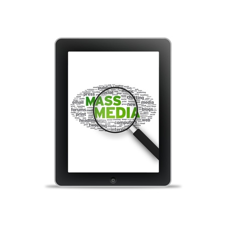 tweet balloon: Tablet PC with Mass Media words on white background.  Stock Photo