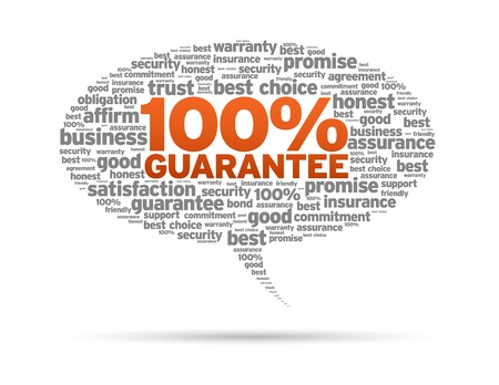 best security: Speech bubble with the words 100% Guarantee on white background. Illustration