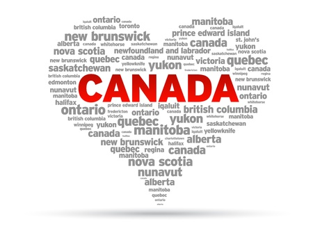 I Love Canada Illustration on white background.