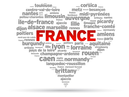 burgundy: I Love France Illustration on white background. Illustration