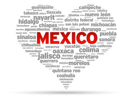 mexico city: I Love Mexico Illustration on white background. Illustration