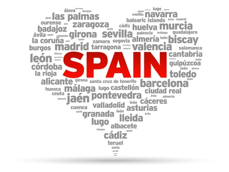 barcelona spain: I Love Spain Illustration on white background. Illustration