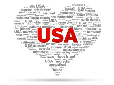 I Love USA Illustratie op een witte achtergrond. Stock Illustratie