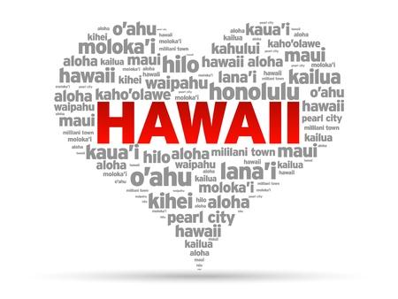 hawaii: I Love Hawaii Illustration on white background.