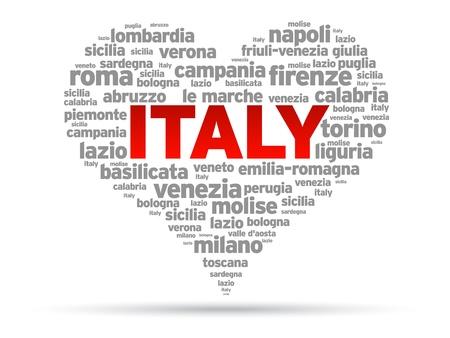 Szeretlek Olaszország illusztráció fehér alapon.