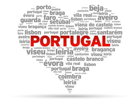 Ik liefde Portugal illustratie op witte achtergrond.