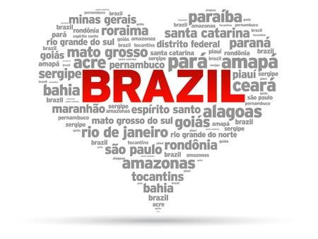 나는 흰색 배경에 브라질의 그림을 사랑 해요.
