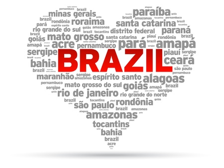 brazil country: I Love Brazil Illustration on white background.