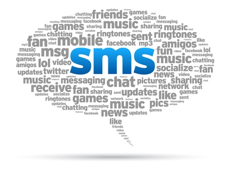 gsm phone: Mobile SMS speech bubble illustration on white background.