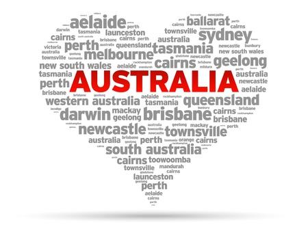 Австралия: I Love Австралия Иллюстрация на белом фоне.