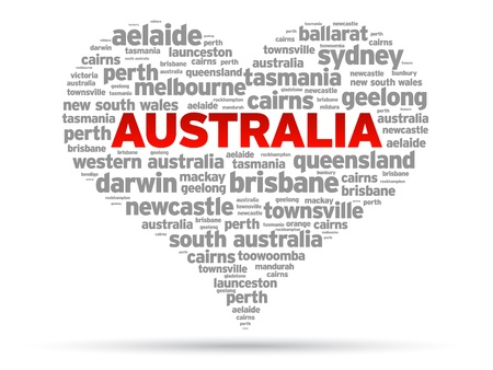 aussie: I Love Australia Illustration on white background. Illustration