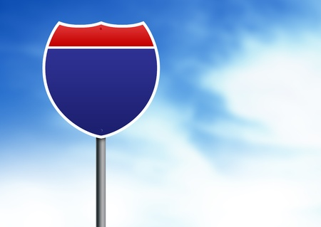 interstate: U.S. Interstate road sign on cloud background.