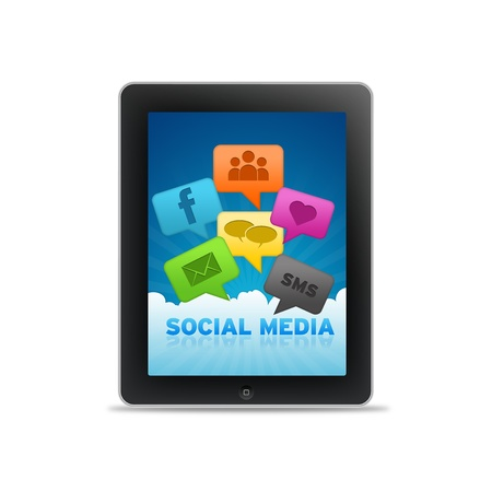 Social Media Tablet PC with Speech Bubbles on white background.  photo
