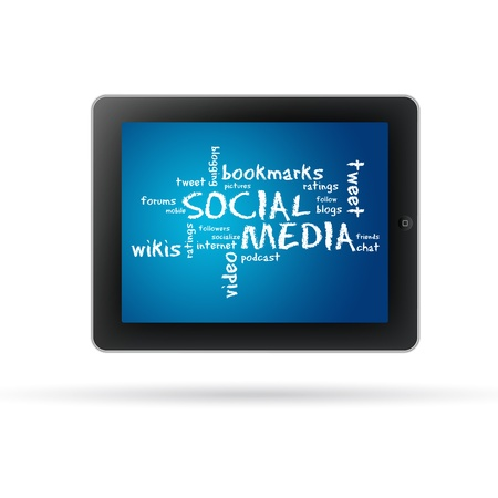Social Media Tablet PC with words and text on white background.  photo