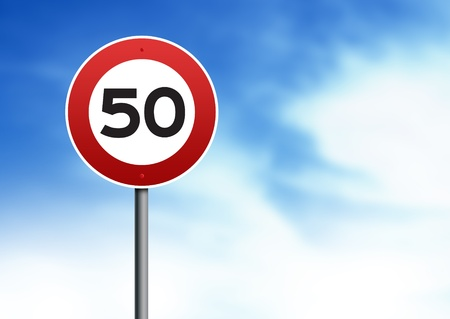 kilometres: 50kmh speed restriction road sign on cloud background.