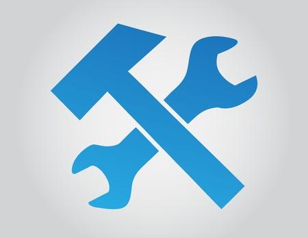 alicates: Llave y la ilustraci�n vectorial en martillo grandient fondo gris. Vectores