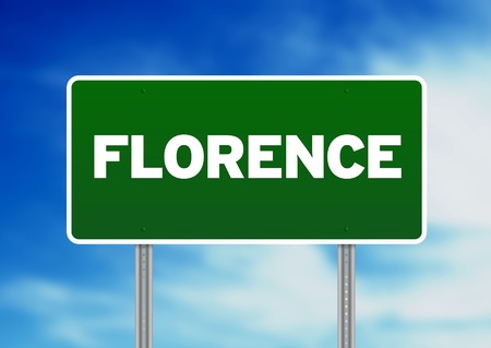 Green Florence, Italy road sign on Cloud Background.