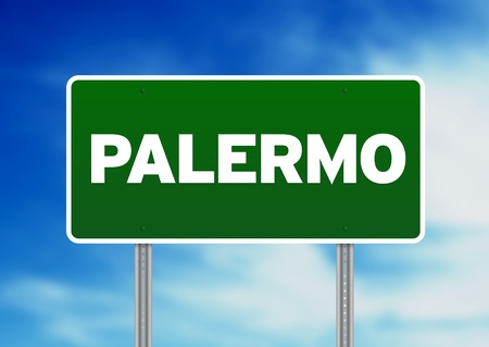 palermo   italy: Green Palermo Italy, road sign on Cloud Background.  Stock Photo