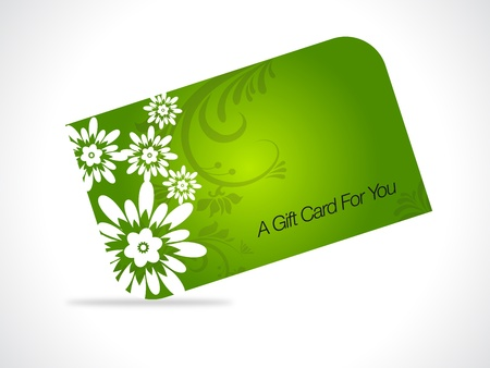 Green giftcard with floral elements on gray gradiant background.