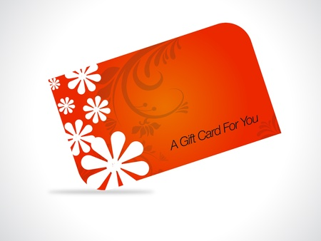 prepaid card: Orange giftcard with floral elements on gray gradiant background.  Illustration