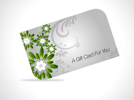 green coupon: Gray giftcard with green floral elements on gray gradiant background.  Illustration