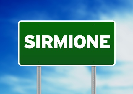 sirmione: Green Sirmione, Italy road sign on Cloud Background.