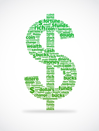 monies: Dollars sign illustration with several different words.
