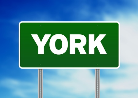 yorkshire and humber: Green York, England highway sign on Cloud Background. Stock Photo