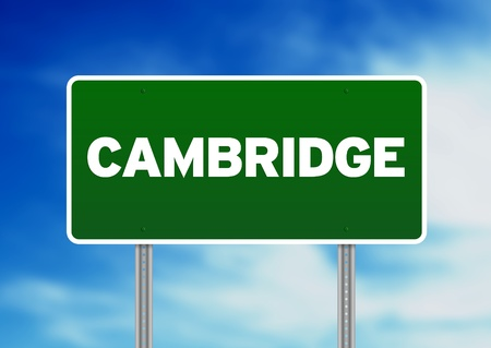 cambridgeshire: Green Cambridge, England highway sign on Cloud Background.