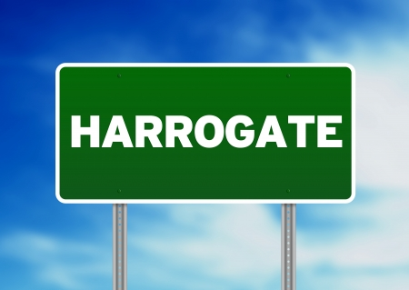 yorkshire and humber: Green Harrogate, England highway sign on Cloud Background.
