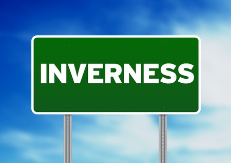 Green Inverness, England highway sign on Cloud Background. Stock Photo