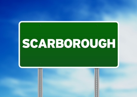yorkshire and humber: Green Scarborough, England highway sign on Cloud Background. Stock Photo