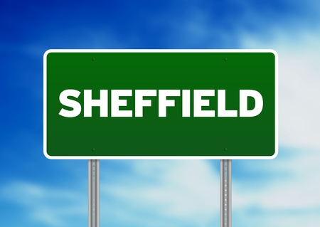 yorkshire and humber: Green Sheffield, England highway sign on Cloud Background.