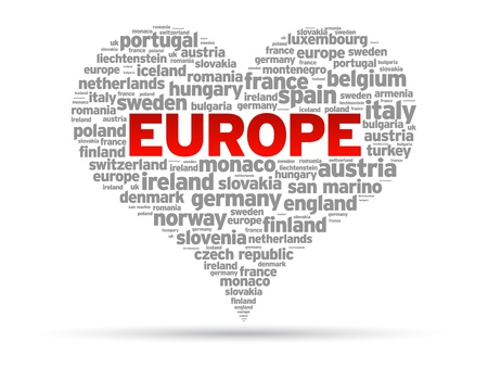 I Love Europe heart Illustration on white background.