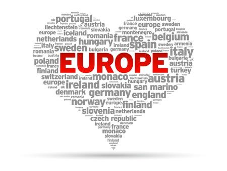 evropský: I Love Europe ilustrace srdce na bílém pozadí.