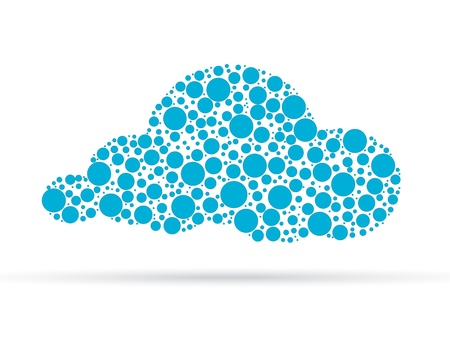 Cloud illustration designed out of dots islolated on white background.  Vector