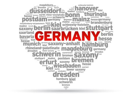 I Love Germany heart Illustration on white background.