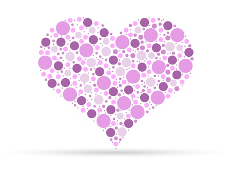 Pink heart illustration isolated on white background.  Vector