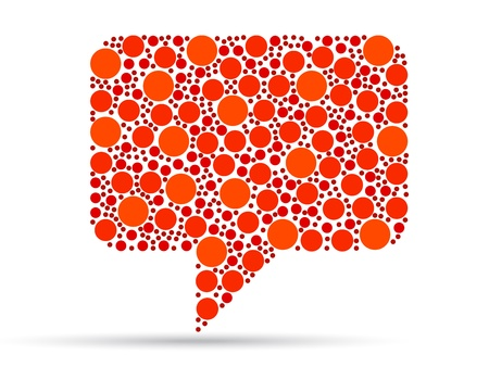Orange speech bubble illustration on white background.