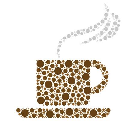 コーヒー カップの図は、白い背景上に分離されて。  イラスト・ベクター素材