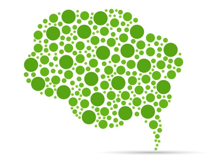 Green speech bubble illustration on white background.  Иллюстрация