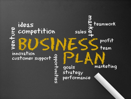 Dark chalkboard with the word Business Plan illustration.