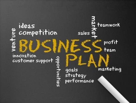 plan van aanpak: Donker bord met het woord Business Plan illustratie. Stockfoto